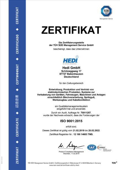 HEDI ISO Zertifikat
